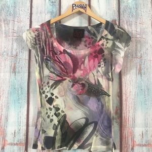 💎 French Blue Floral Print Tee Pink Green Size S